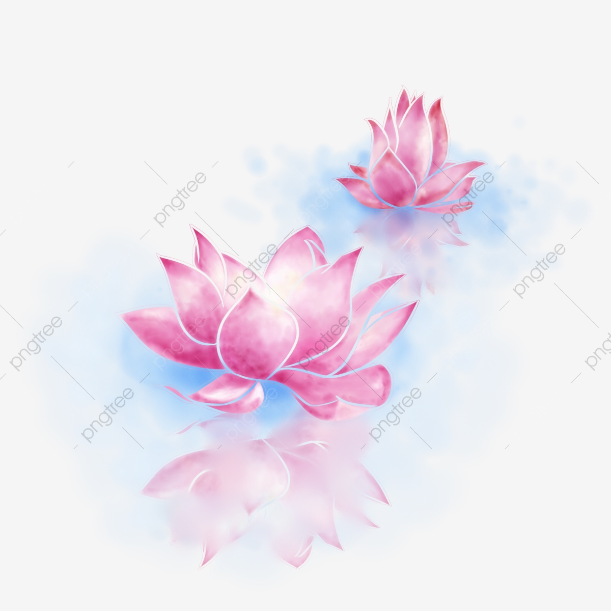 Fresh And Elegant Watercolor Lotus Flower Reflection In Water