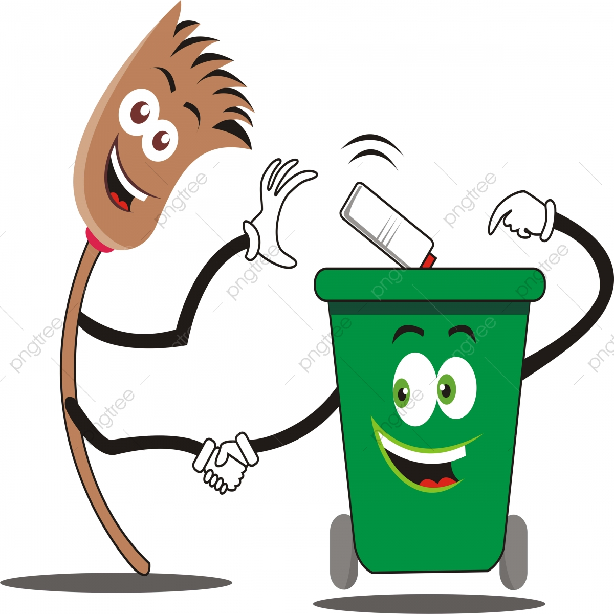 Gambar Ilustrasi Vektor Penyapu Dan Tong Sampah Boleh Tong Sampah Sampah Png Dan Vektor Untuk Muat Turun Percuma