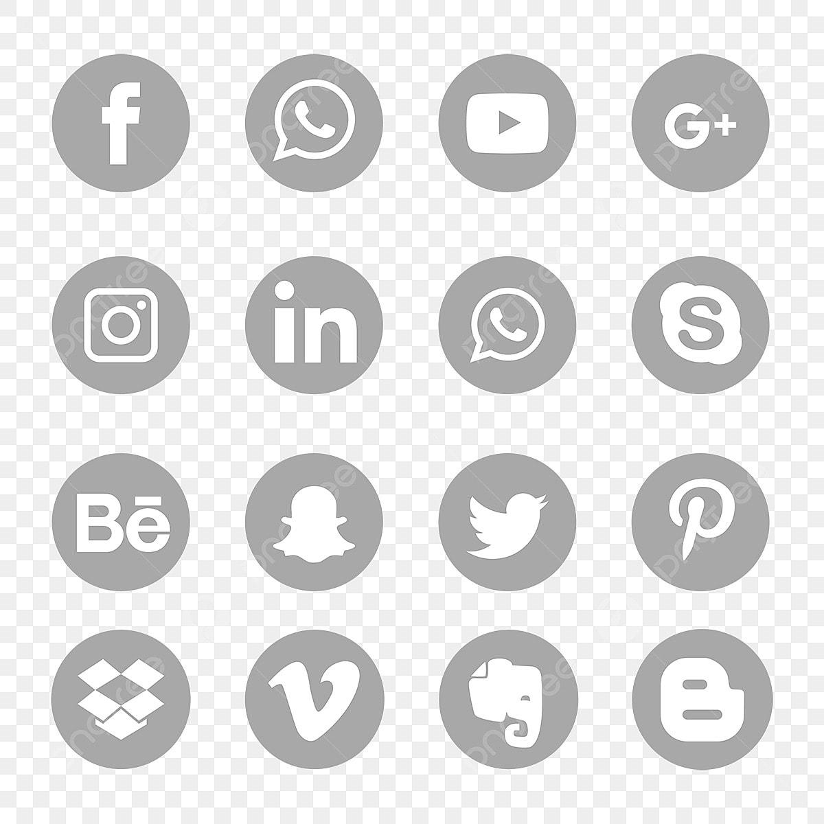 Gray Social Media Icons Set Symbol Soziale Medien Symbol