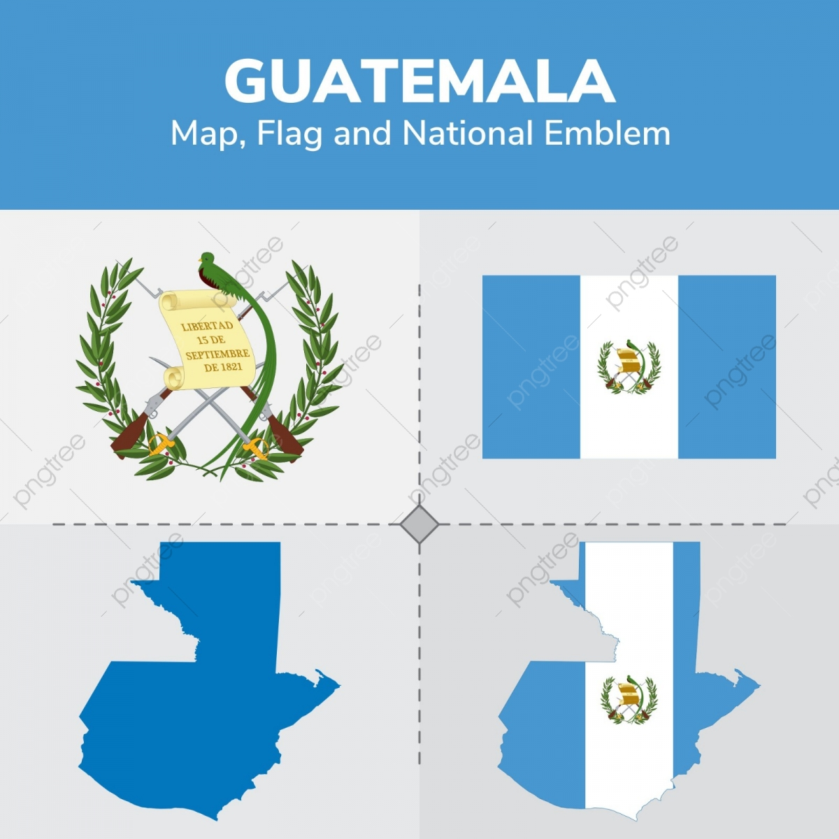 Guatemala Karte.Guatemala Karte Flagge Und Nationale Emblem Kontinente Länder