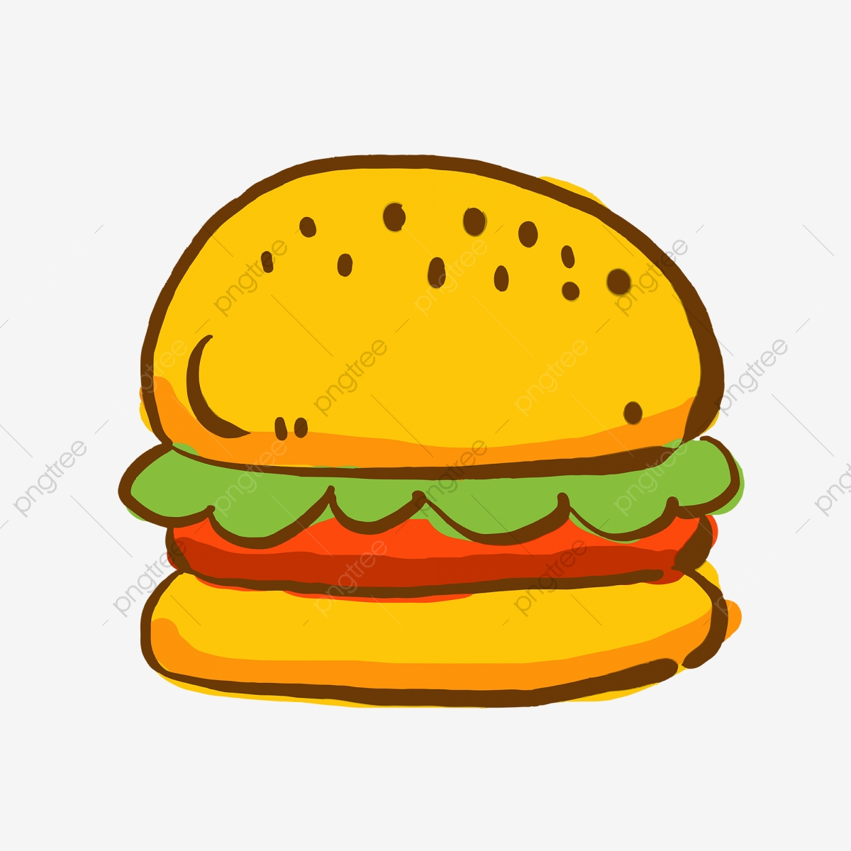 burger icon png hand painted western food burger icon material, hand painted