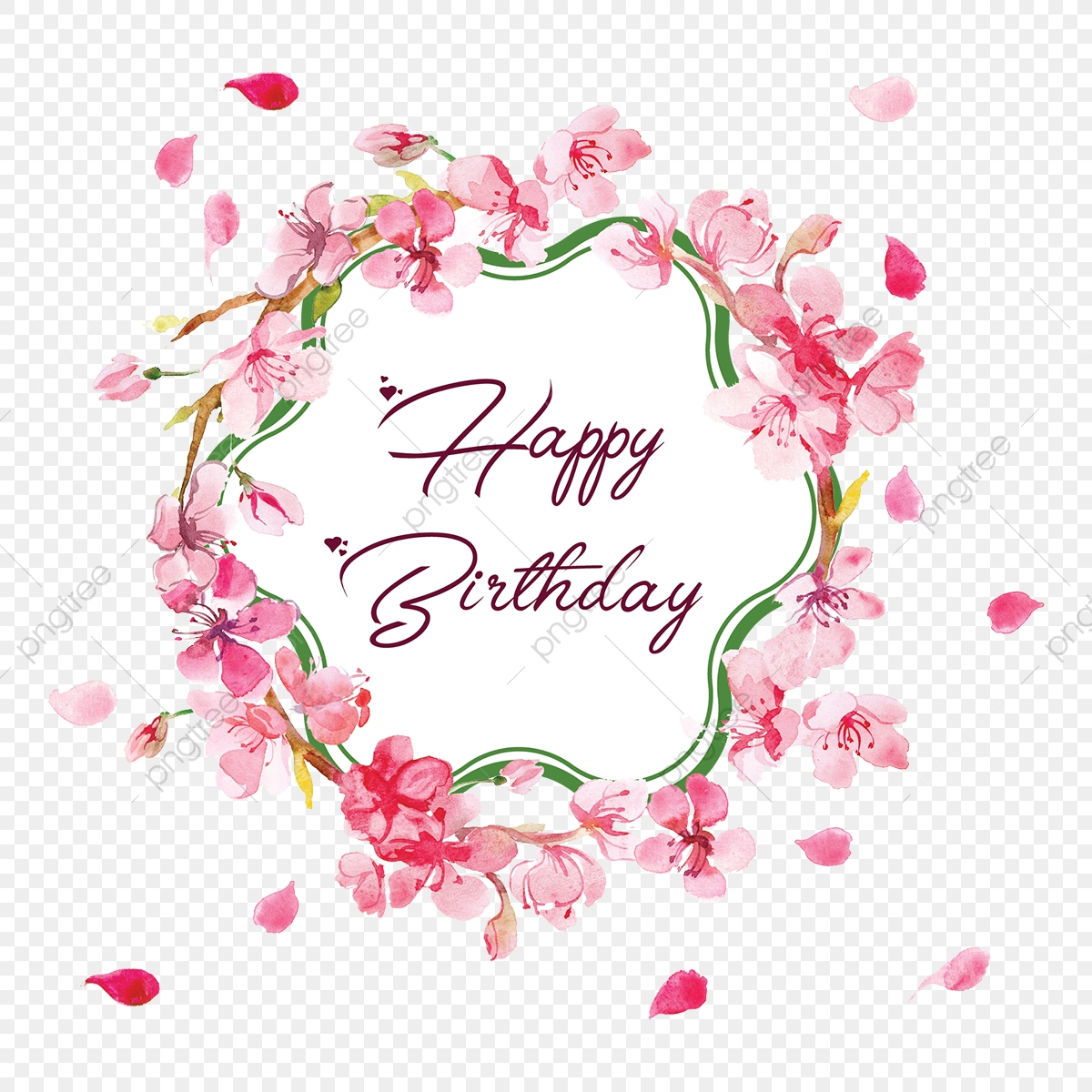 Happy Birthday Floral Frame, Border Vector, Frame Vector, Birthday Vector PNG and Vector with