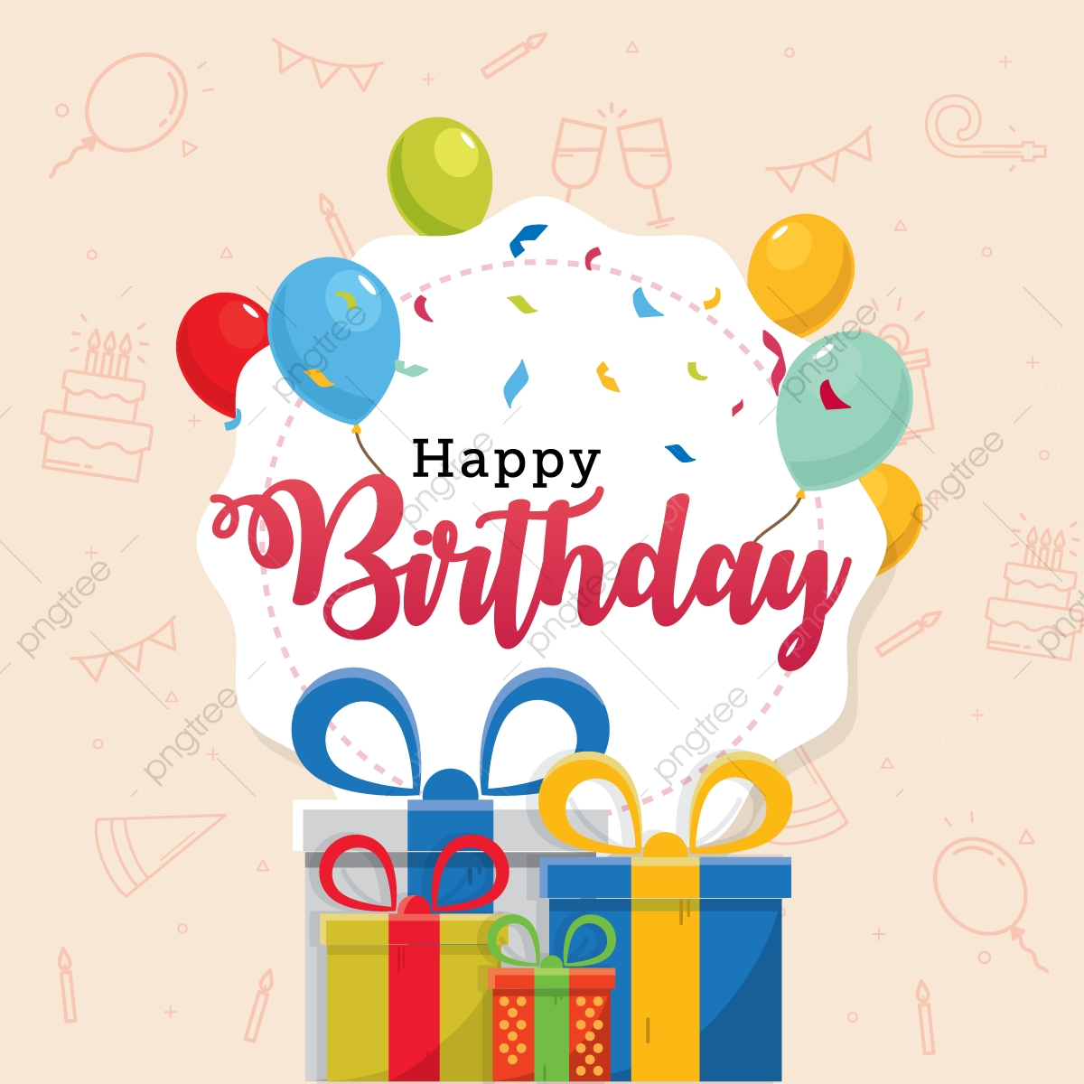 Happy Birthday Typography Vector Design Template For