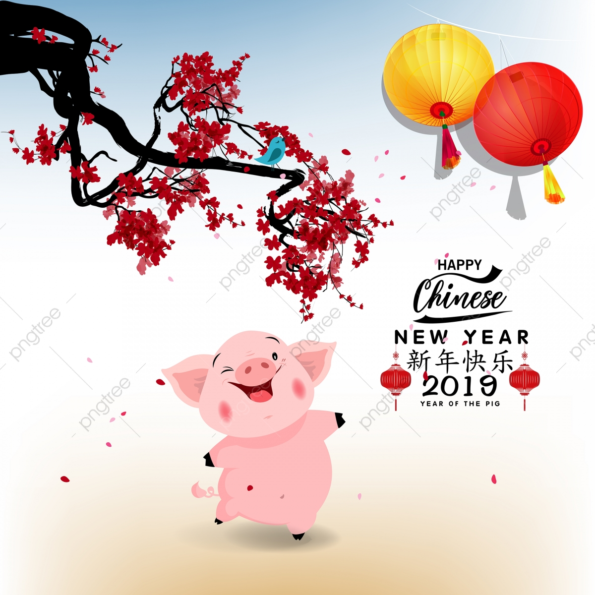 happy chinese new year 2019  year of the pig  lunar new