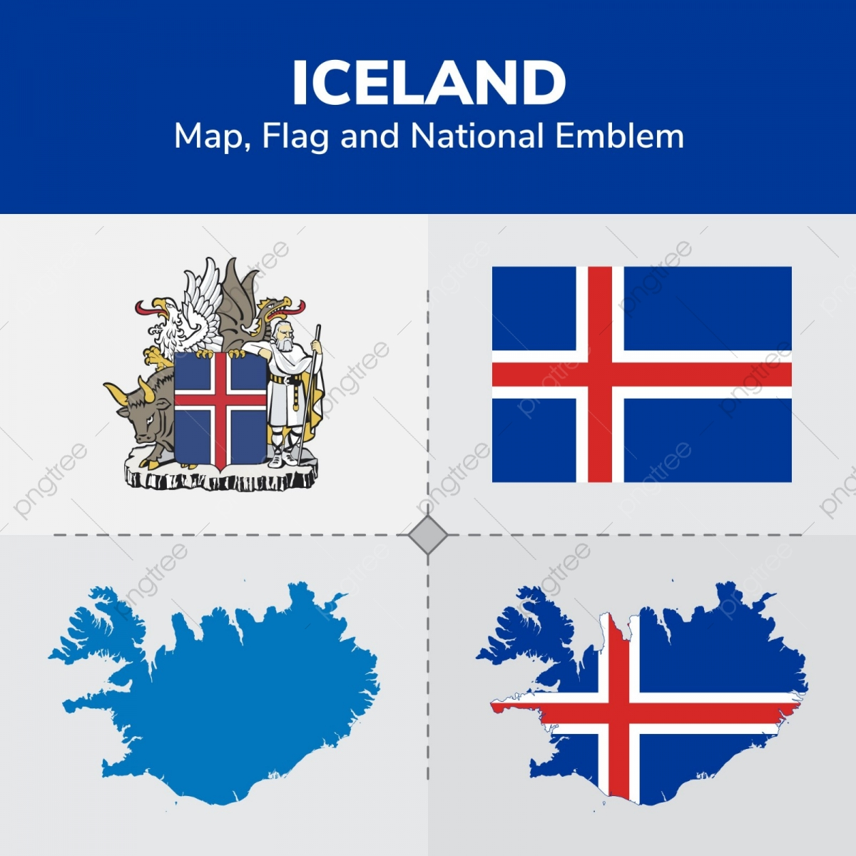 Iceland Map, Flag And National Emblem, Continents, Countries, Map ...