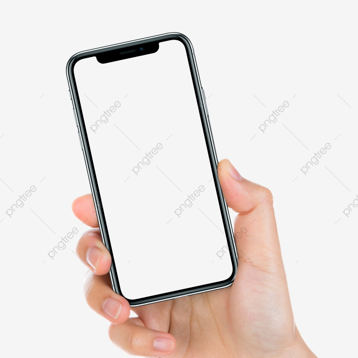 Iphone x actual size. In hand mockup mobile