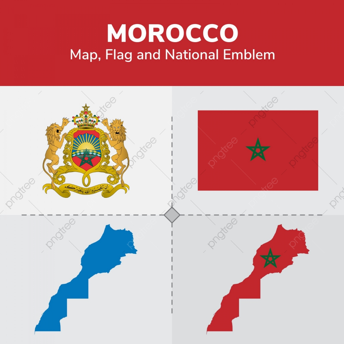 Morocco Map, Flag And National Emblem, Continents, Countries, Map