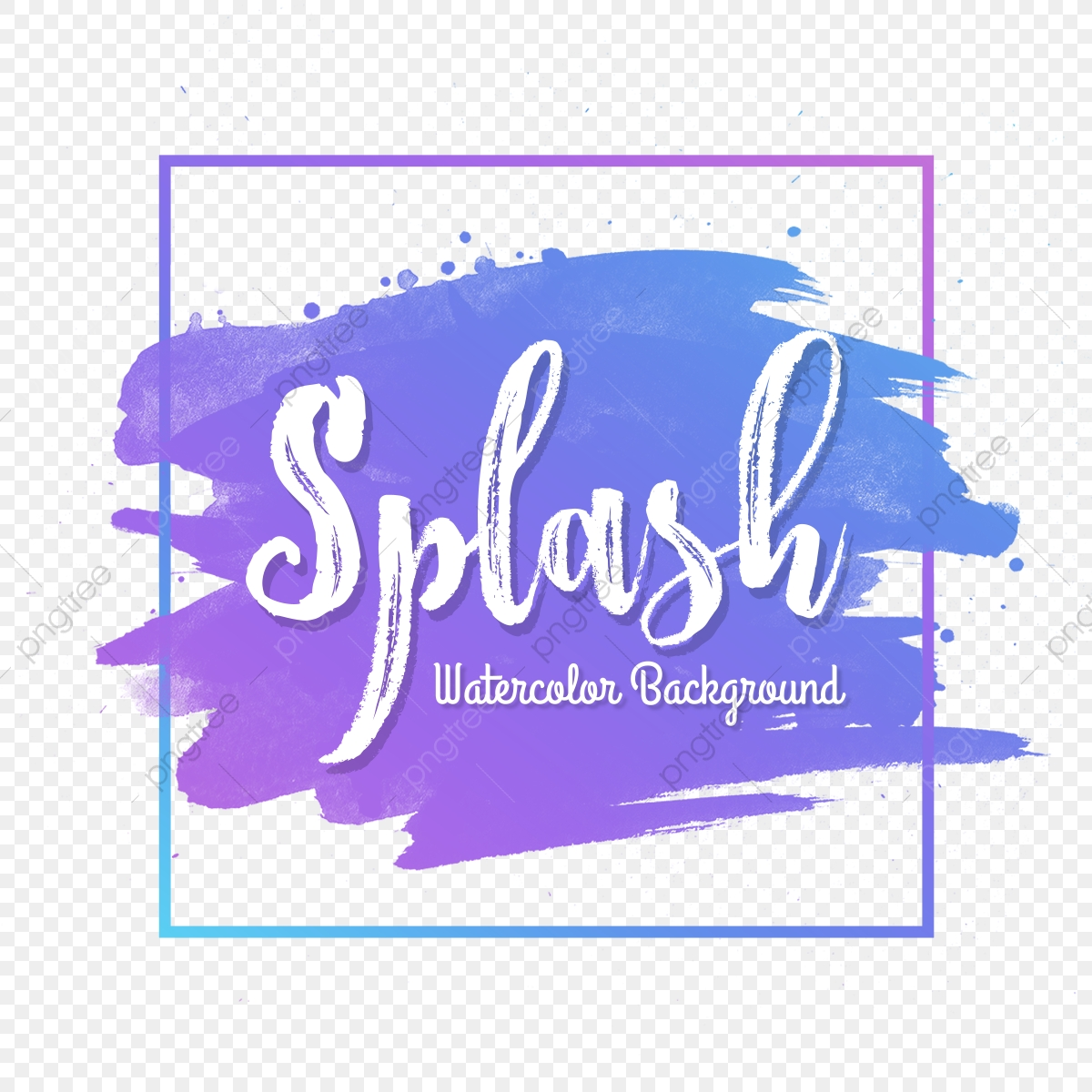 Multicolor Watercolor Brush Background With Trendy Frame