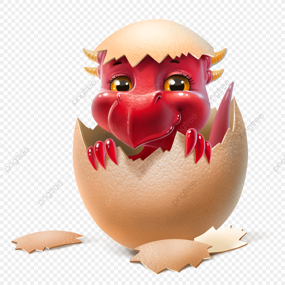 Newborn Dragon In Egg, Silly, Ball, Cartoon PNG Transparent