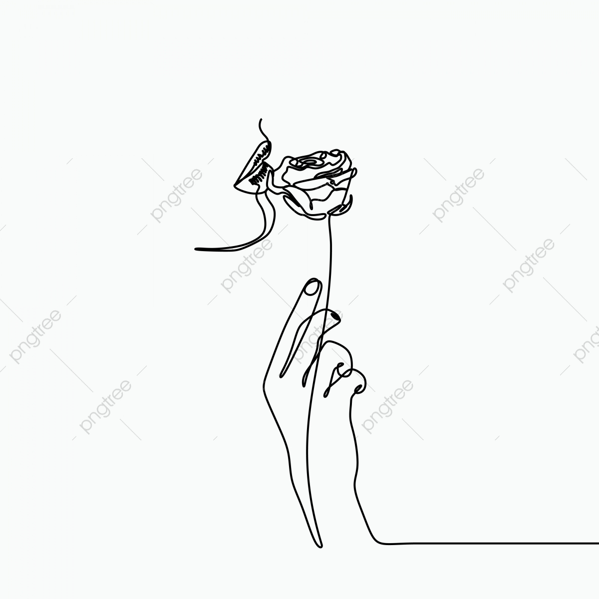 One line art drawing with a hand rose flower and girl mouth