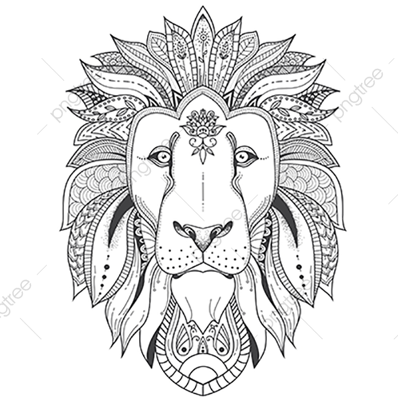 Download Poster With Patterned Lion, Coloring, Lion, Mandala PNG ...