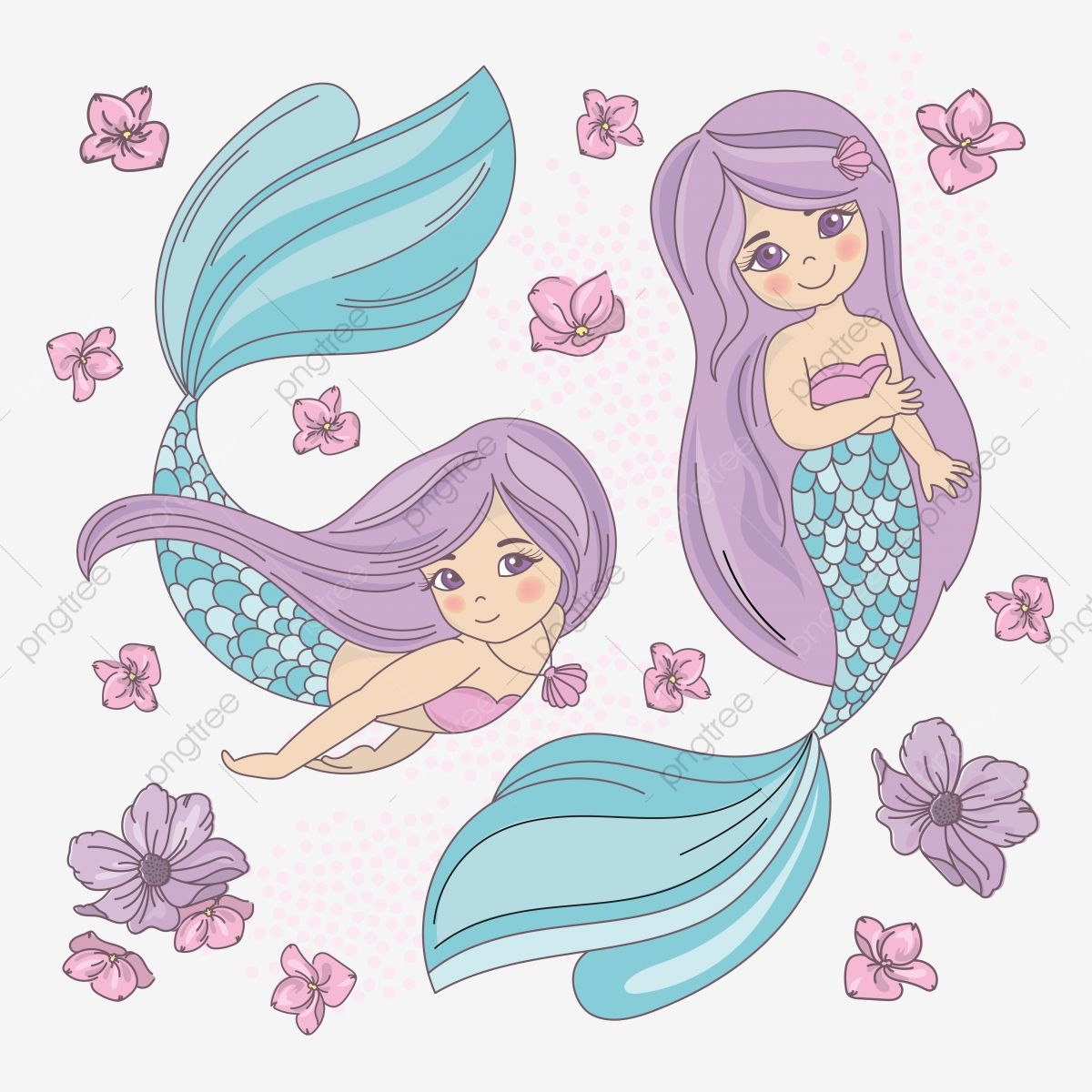 Purple Mermaid Underwater Vector Illustration Set For Textile Fabric Print Holiday Art Scrapbooking Design And Digital Underwater Mermaid Holidayprincess Png And Vector With Transparent Background For Free Download