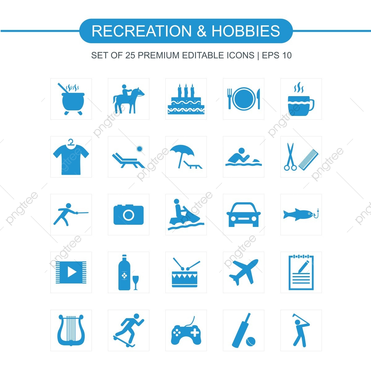 recreations and hobbies icons set  icon  hobby  hobbies
