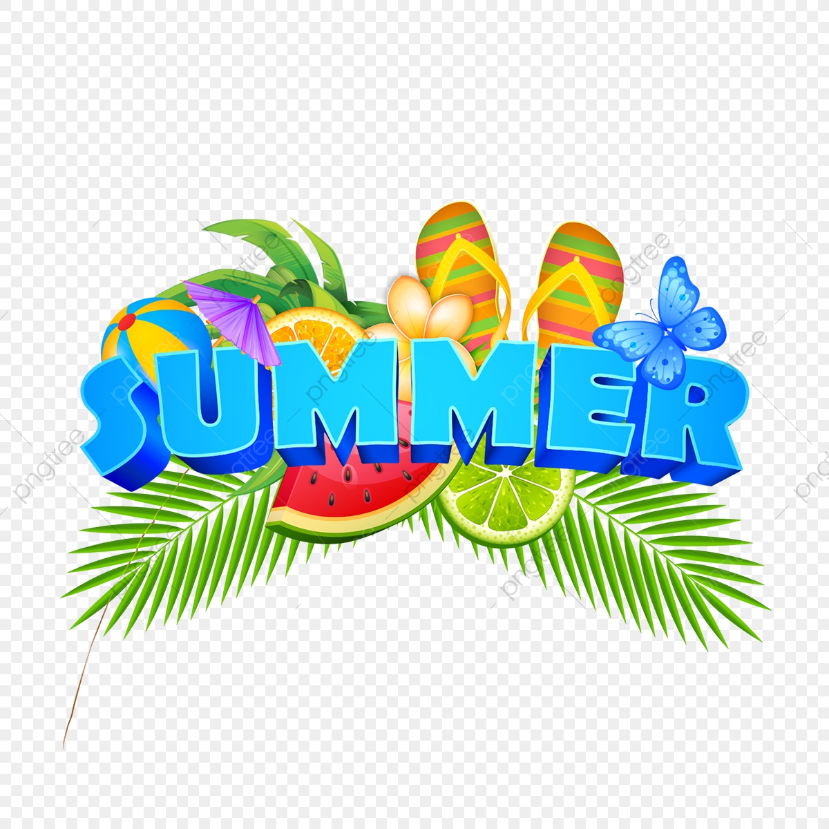 Summer Elements Illustration Badge With Fresh Fruits ...