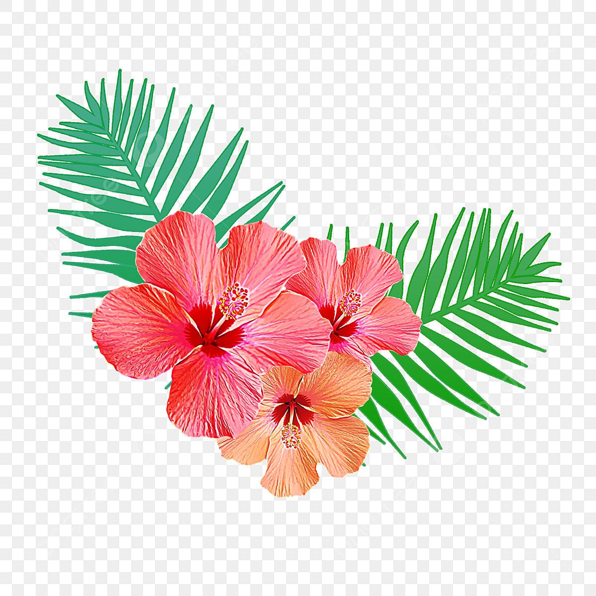 flores tropicales con hojas de palma flamingo flores