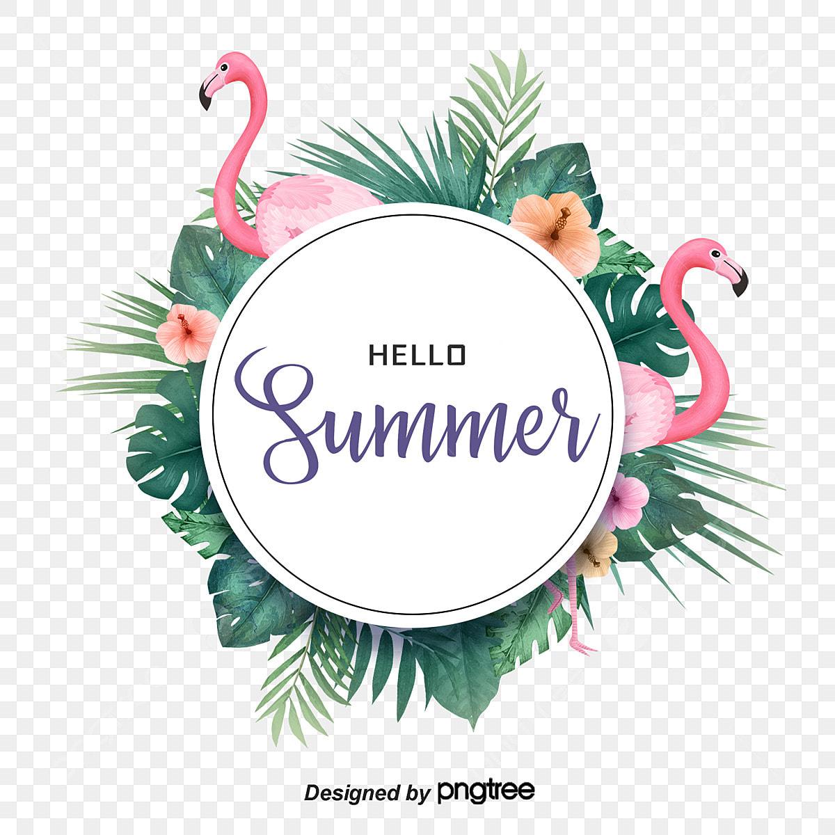 Tropical Summer Flamingo Elements, Summertime, Summer Rim ...