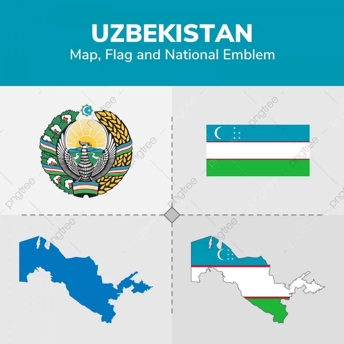 Uzbekistan Map Flag And National Emblem, Continents