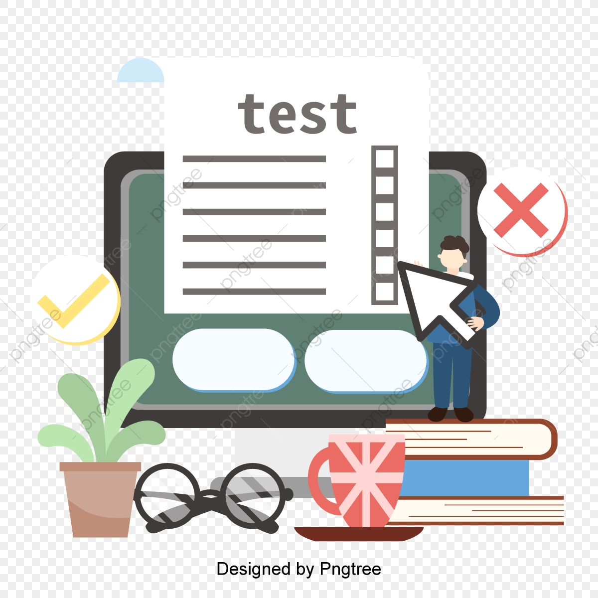 Vector Flat Online Education Learning Test Illustration Delayering Online Education Online Png And Vector With Transparent Background For Free Download