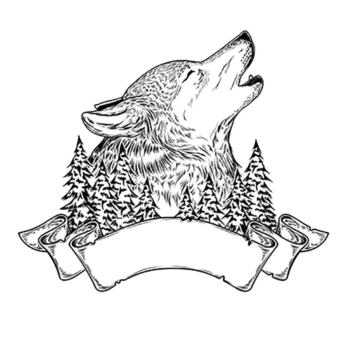 Wolf Silhouette Vintage Wolf Gesicht Logo 6