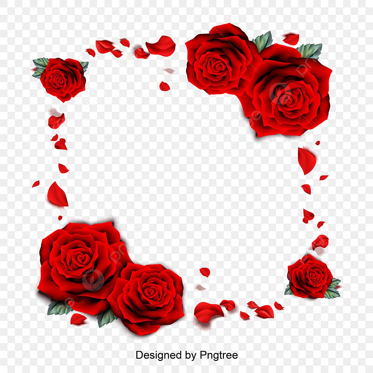 Vector Illustration Of Red Rose Petal Borders Romantic Valentines
