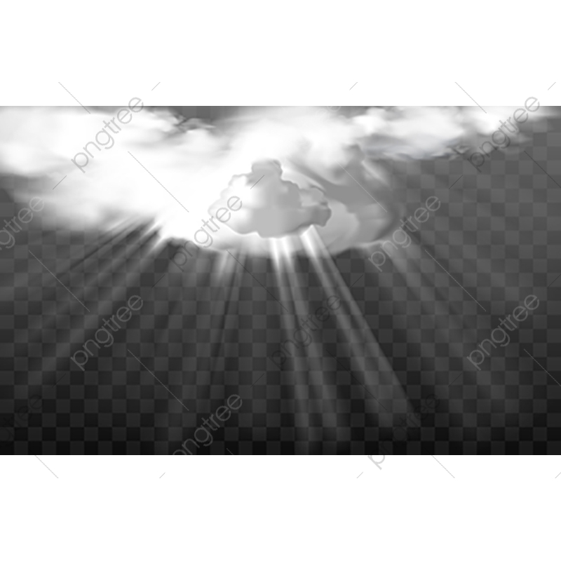 Vector Rays Through White Fluffy Clouds, Realistic, Ray PNG