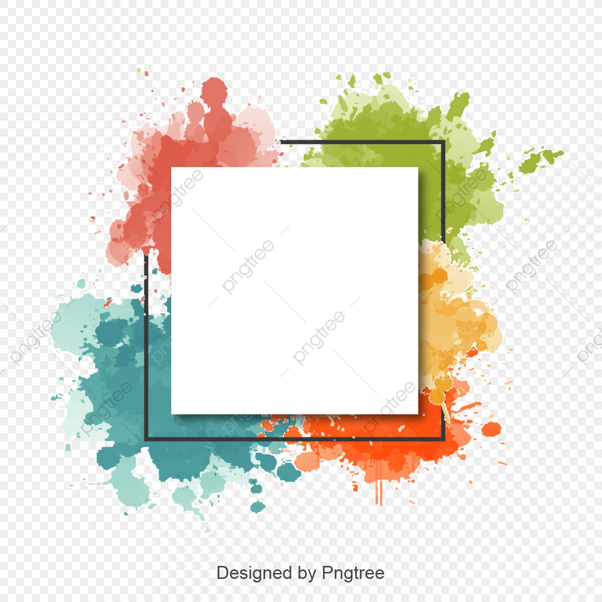 Watercolor, Frame PNG and Vector with Transparent Background for