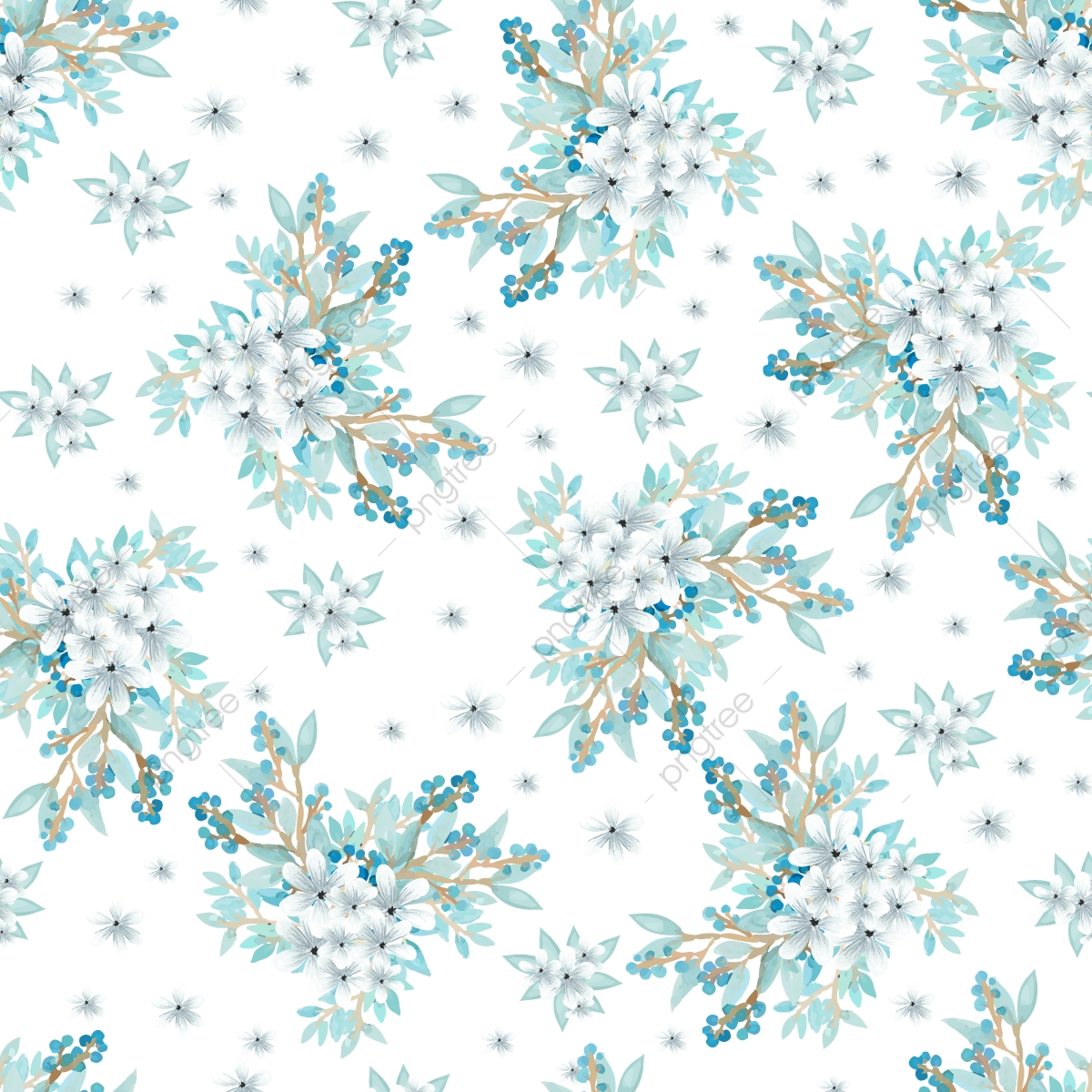 Watercolor Floral Seamless Pattern With Beautiful Blue Png