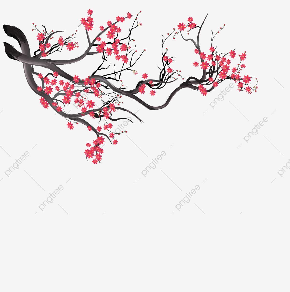 Watercolor Sakura Background With Blossom Cherry Branches Hand