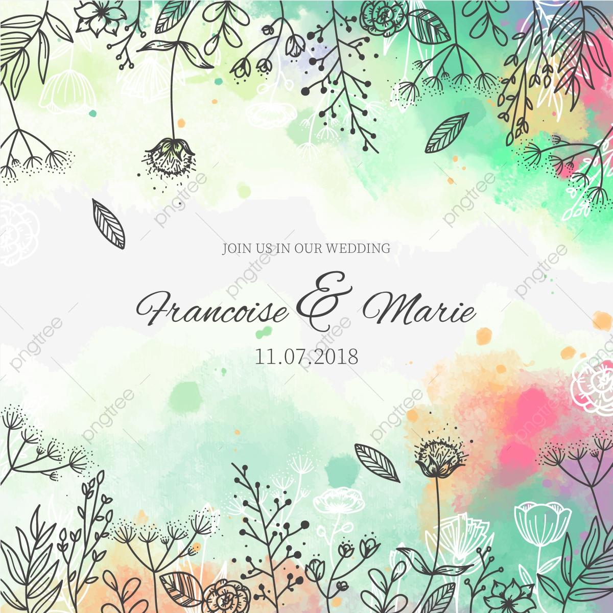 convite de casamento com fundo floral em estilo aquarela