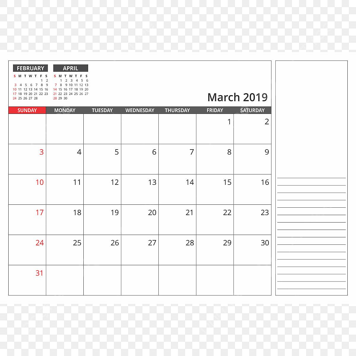 Calendrier De Mars 2019.Calendrier Mars 2019 2018 2019 Avril Png Et Vecteur Pour