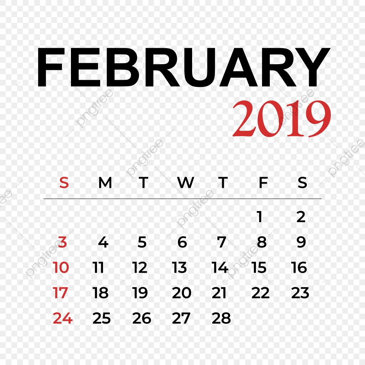Febrero 2019 Calendario.Calendario Mes De Febrero 2019 Calendario Vector Ano Png Y Vector