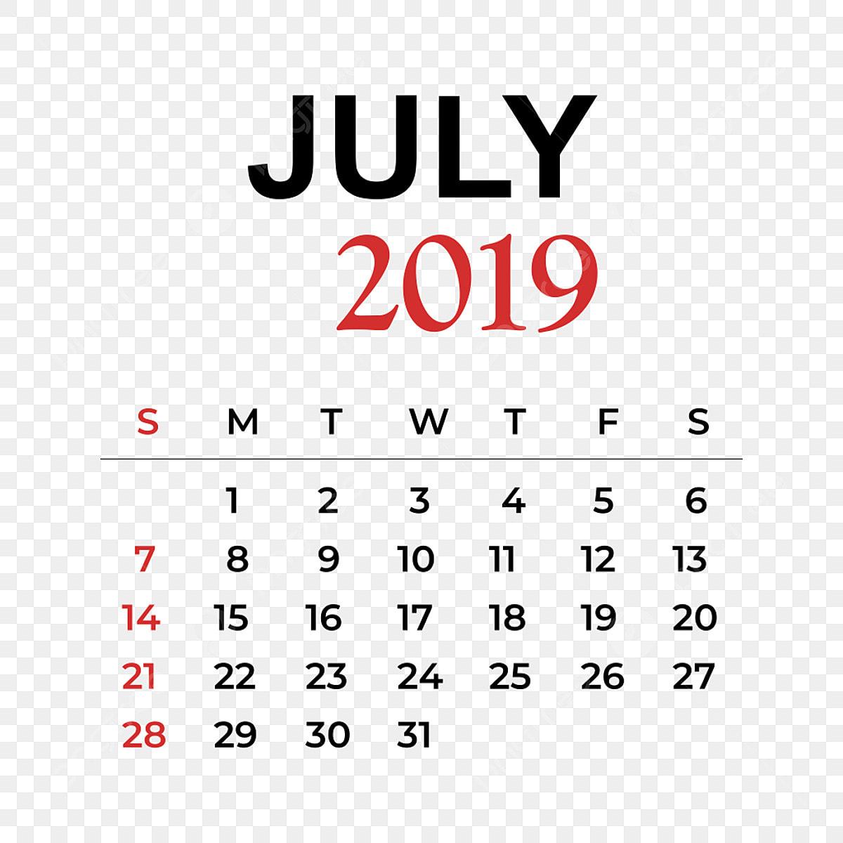 Calendario 2019 Illustrator.2019 Calendar July Month Calendar Year Week Png And