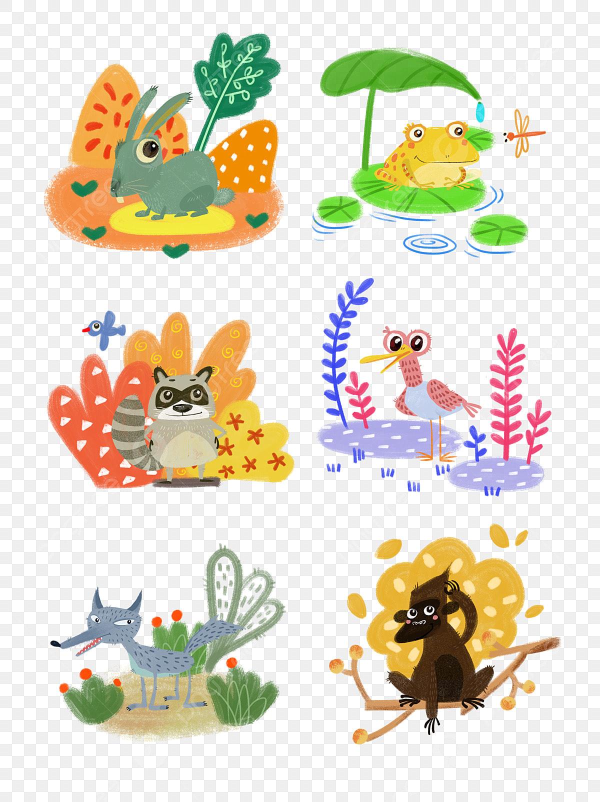 6 Kartun El Tangan Dicat Koleksi Bahan Haiwan Kanak Kanak