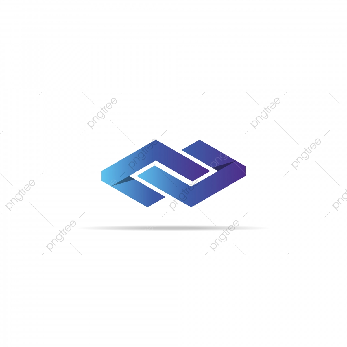 Abstract Infinity Letter Nu Chain Cube Logo Element Concept