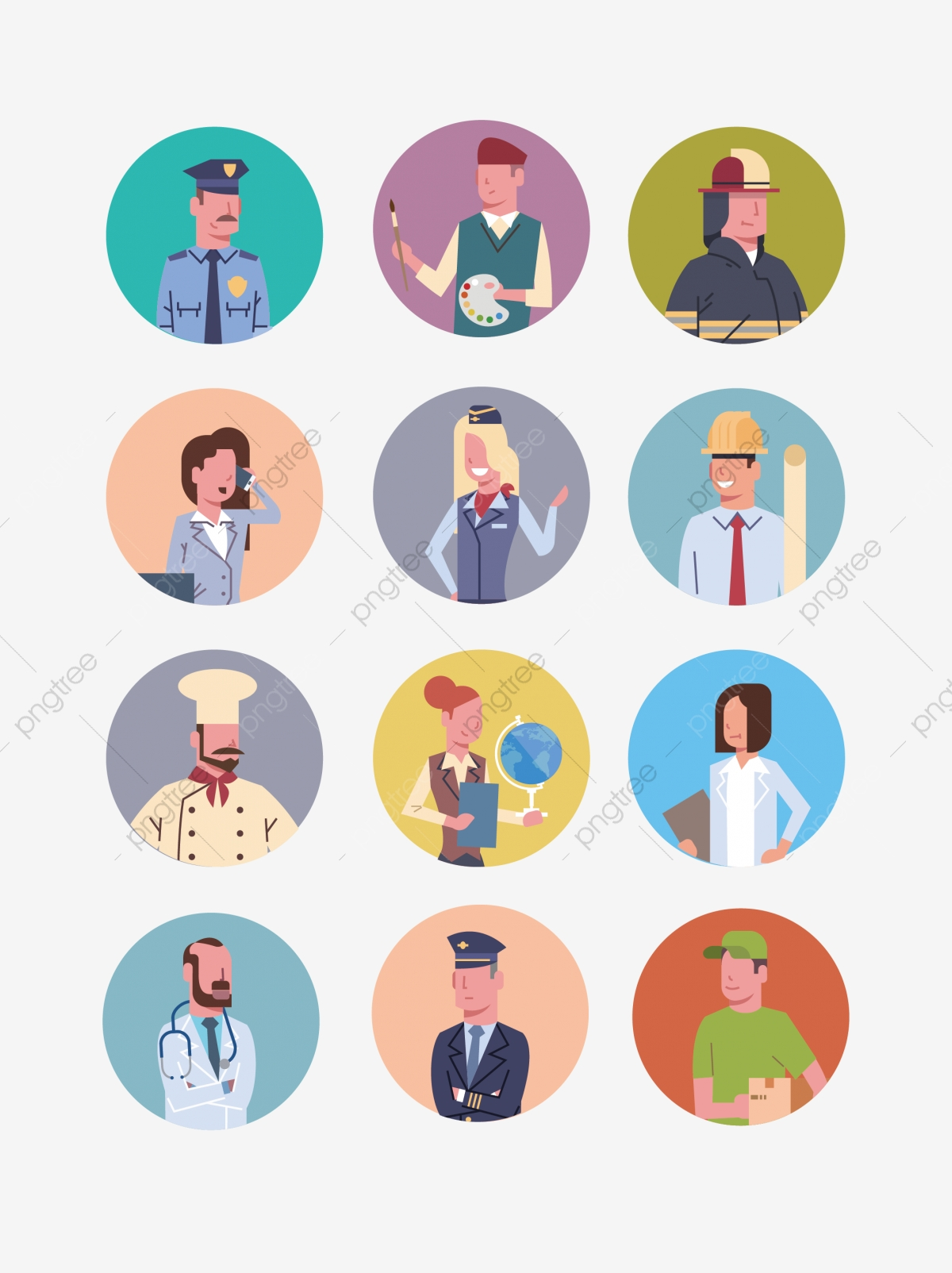 Ai Cartoon Professional Character Avatar Design Material Icon Ui Round Career Cartoon Png And Vector With Transparent Background For Free Download