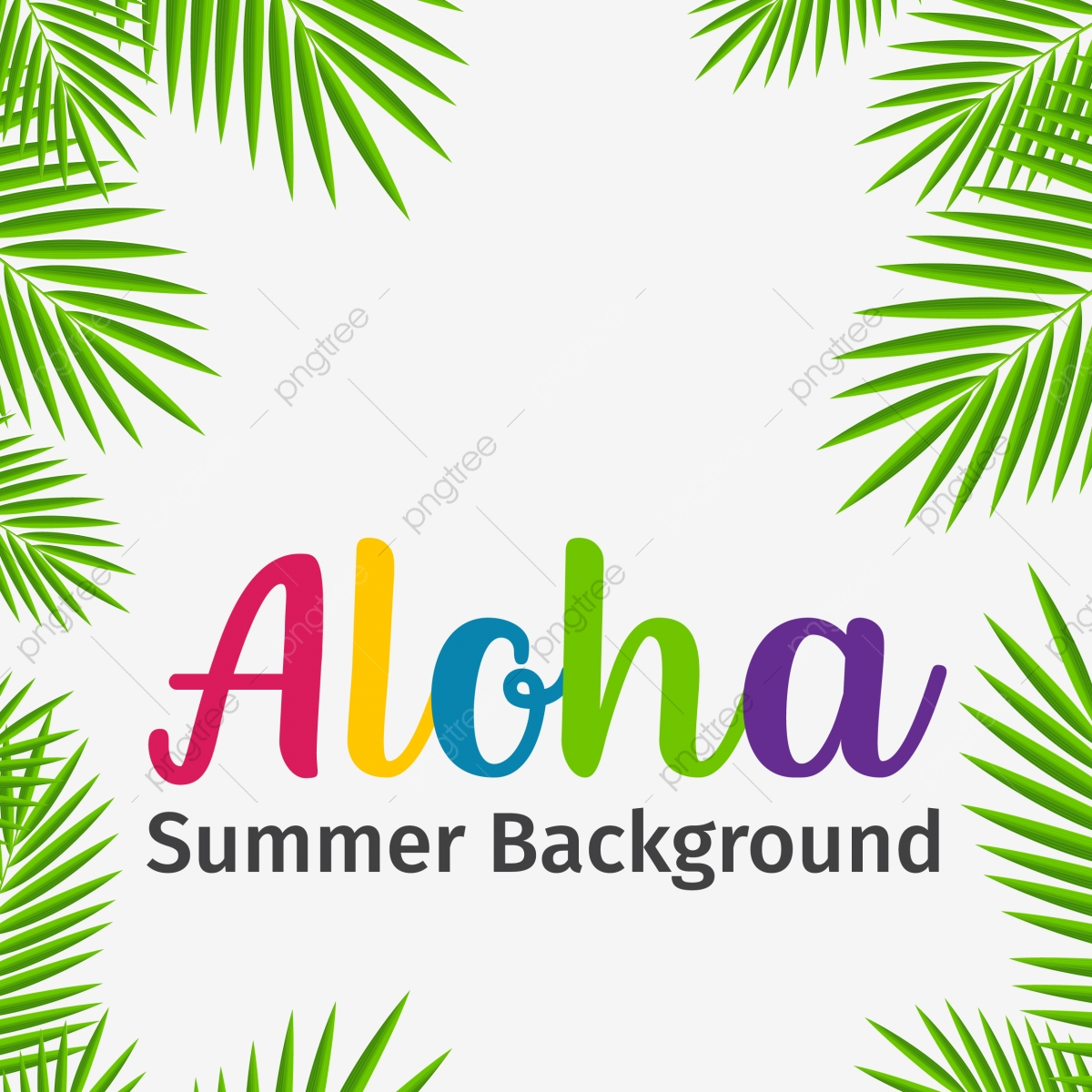 Aloha Tropical Green Leaf Summer Background, Tropical, Palm