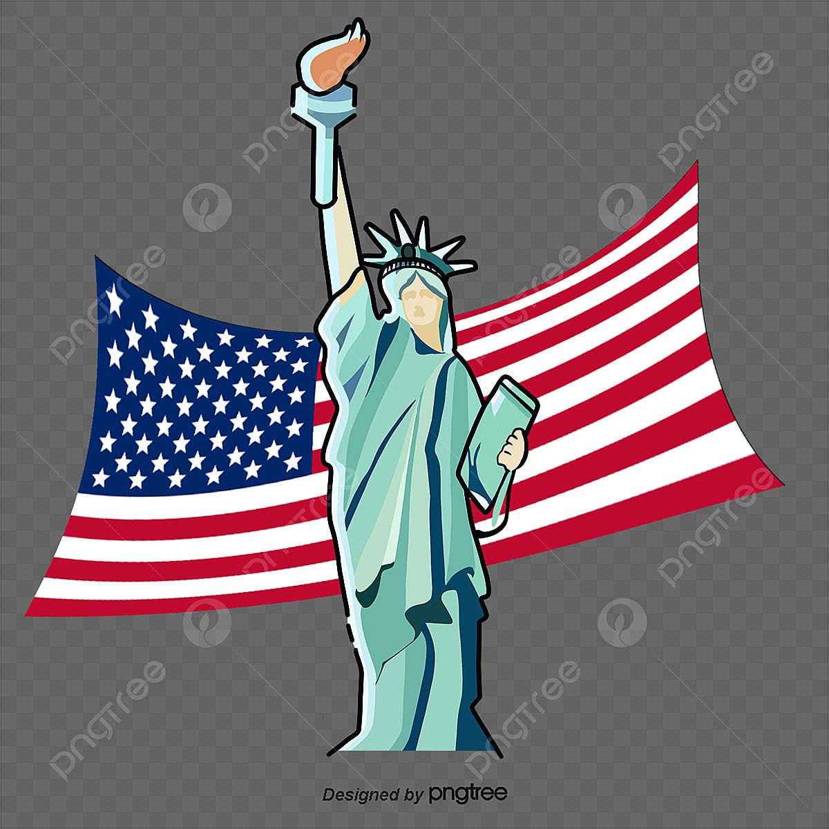 Gambar New York Amerika Syarikat Patung Liberty Bendera Amerika Syarikat Kartun Elemen Kartun Bendera Kebangsaan Tangan Dicat Png Dan Psd Untuk Muat Turun Percuma