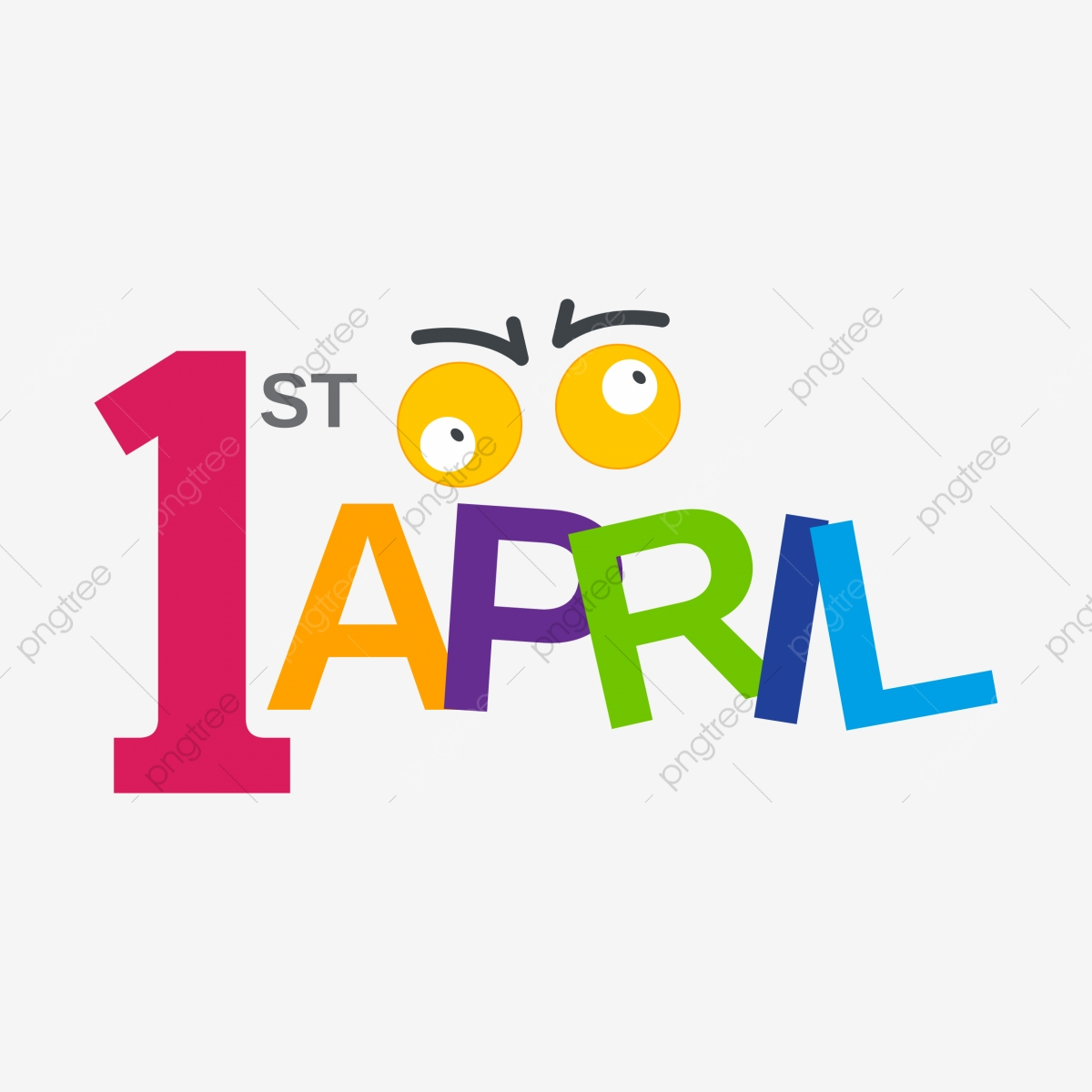 April transparent background. Fool day colorful funny
