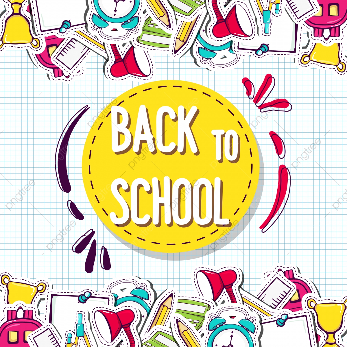 Back To School Background With Elements Background School Education Png And Vector With Transparent Background For Free Download