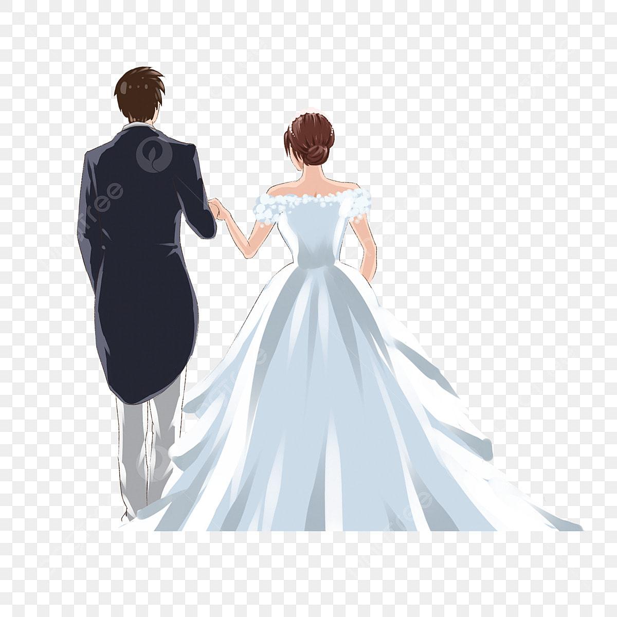 Pandangan Belakang Pasangan Dalam Pakaian Perkahwinan