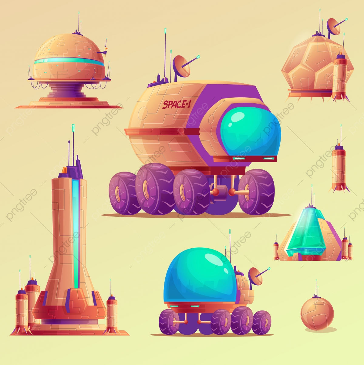 Background Of Cartoon Space Equipment, Space, Station