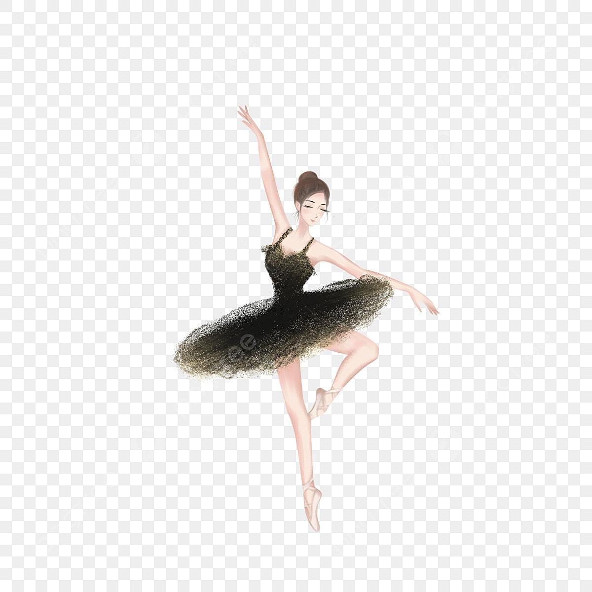 Desenho De Mao Desenhada Personagem Cisne Negro Bale Aquarela