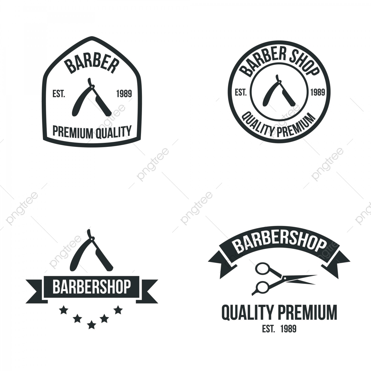 Friseur Vintage Logo Element Frisur Marke Illustration Icos Emblem