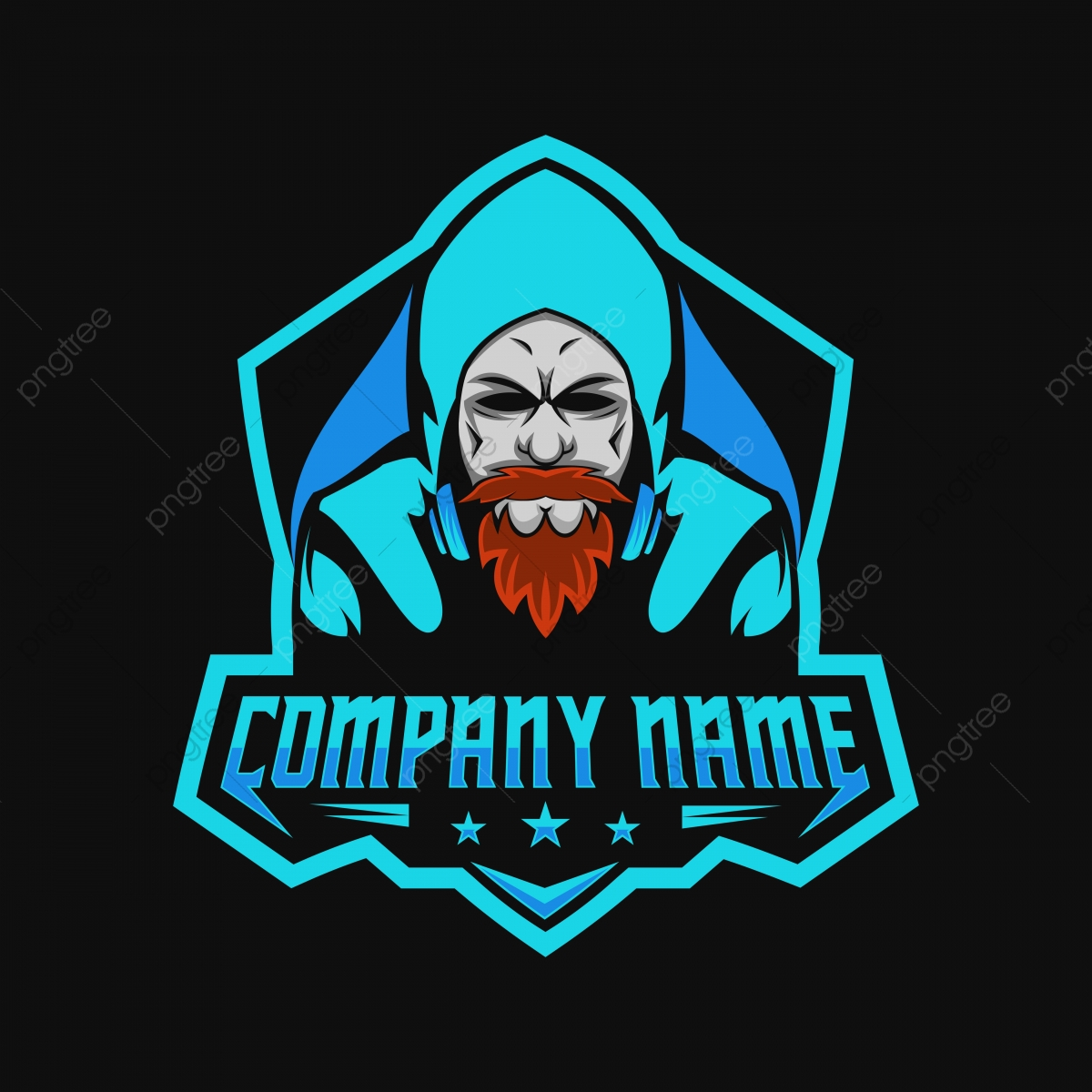 Beard Man Gamers Gaming E Sport Logo Amazing Design For Your Company Or Brand Badge Beard Black Png And Vector With Transparent Background For Free Download