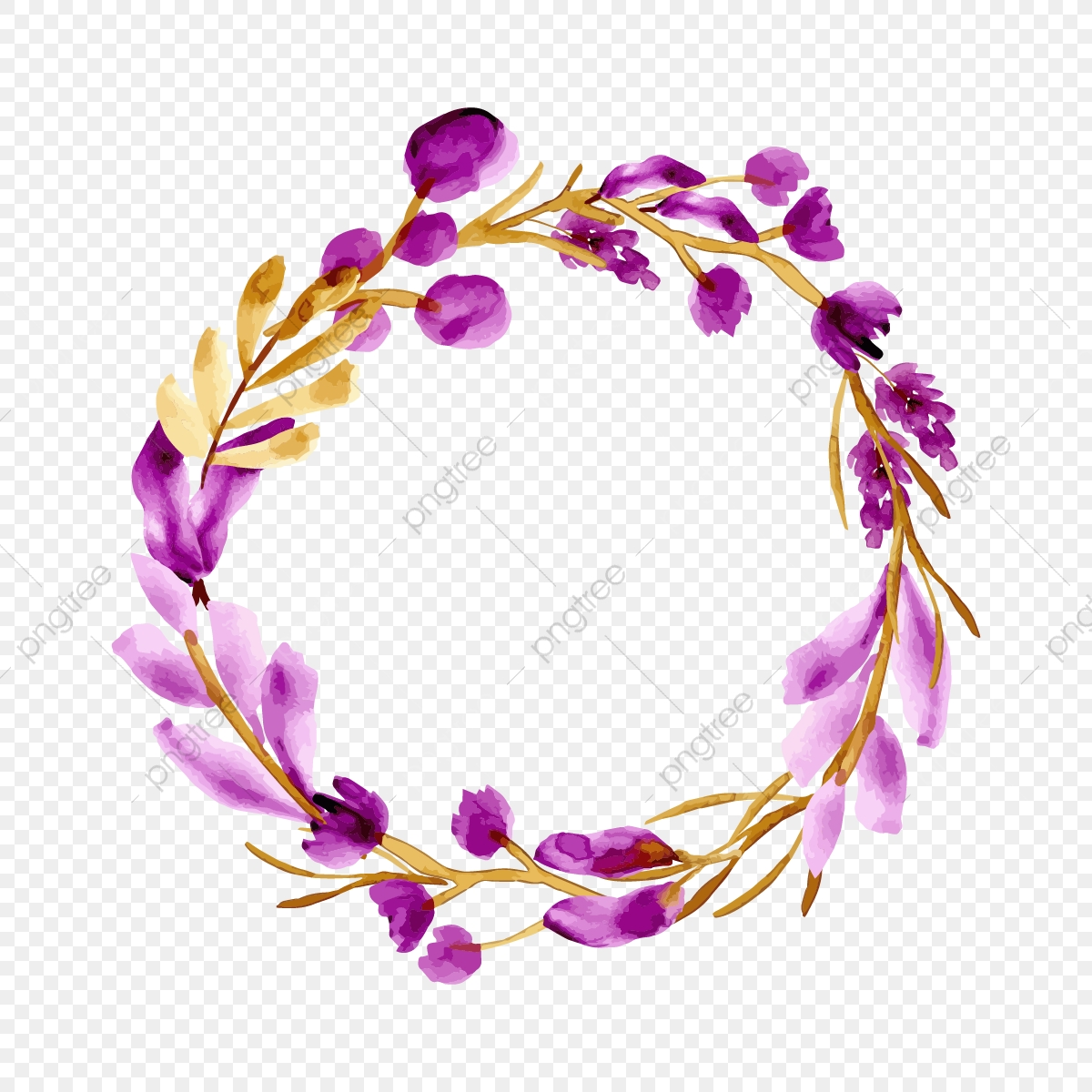 Beautiful Purple Floral Wreath Watercolor Background Floral