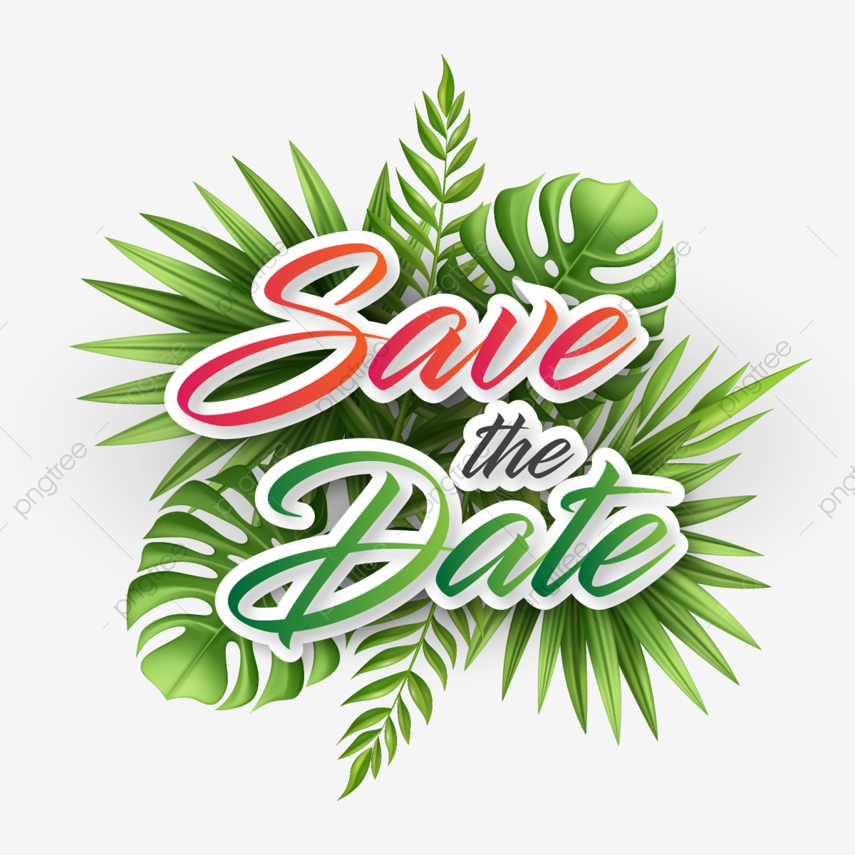 Christmas Save The Date Clipart.Beautiful Save The Date Typography On Tropical Leaves