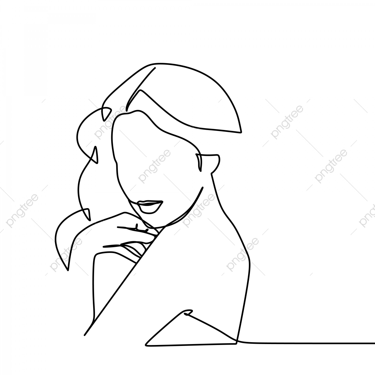 Woman Spa Face Line Drawing No Background Black And White