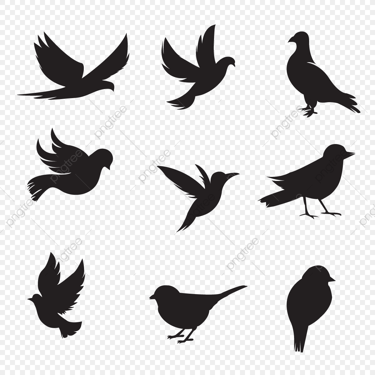 Bird Silhouette Collection, Silhouette, Bunny, Animal PNG