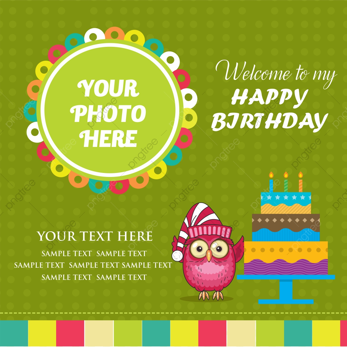Birthday Cute Green Invitation Card Design, Green Invitation ...