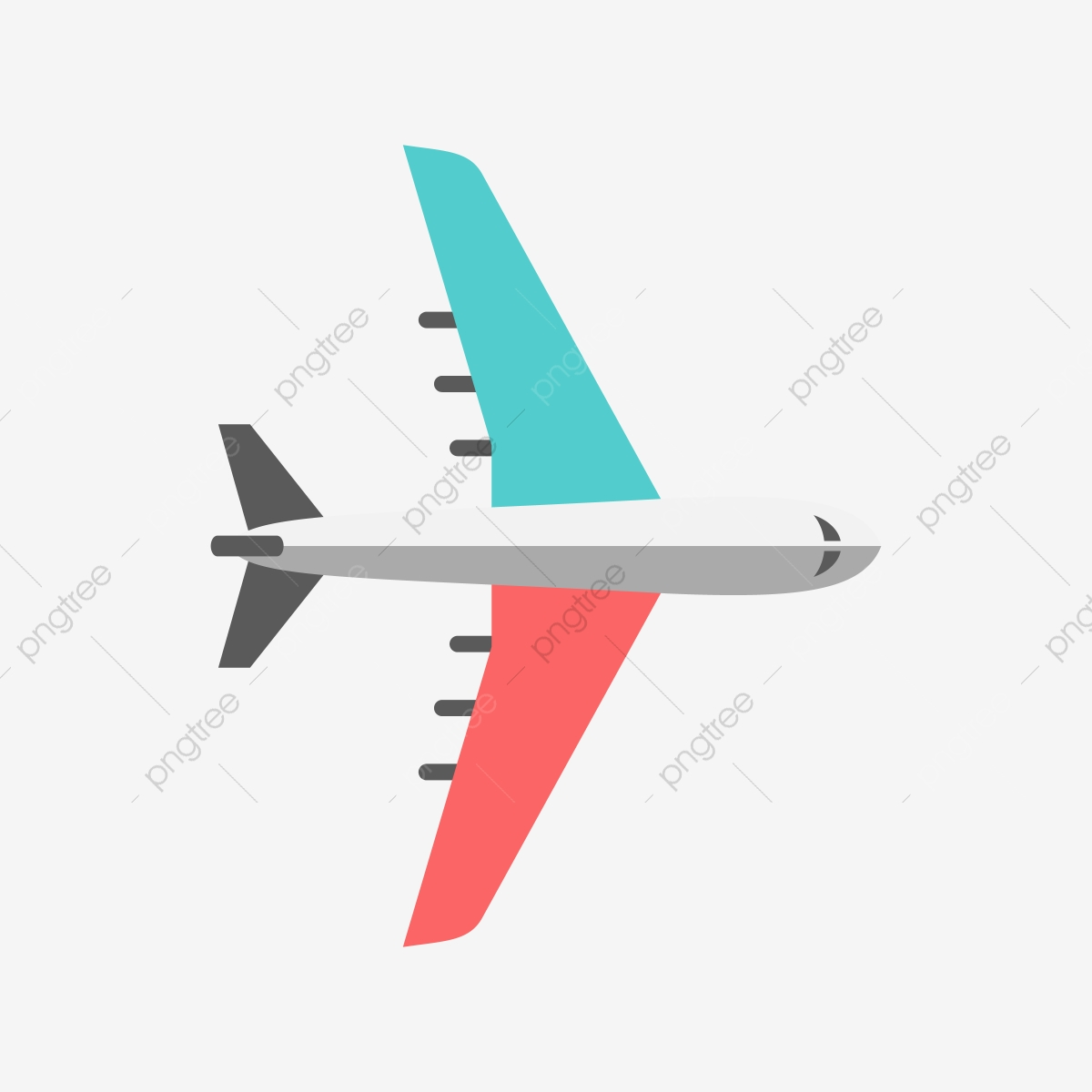 Airplane vector. Blue and red clipart